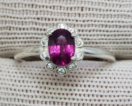 Natural Purple Rhodolite Garnet 10.60 Carats 925 Starling Silver CZ Ring I8