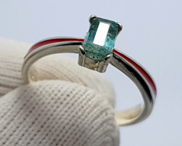 Natural Paraiba Color Tourmaline CZ Ring 925 Sterling Silver