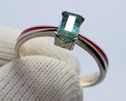 Natural Paraiba Color Tourmaline CZ Ring 925 Sterling Silver