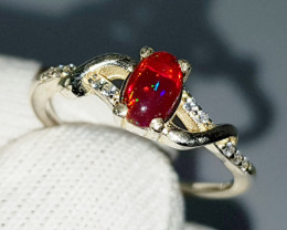 Natural Red Multi Fire Opal CZ Ring 925 Sterling Silver