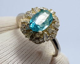 Natural Blue Zirkon (Zircon Starlite) - 925 Sterling Silver Ring