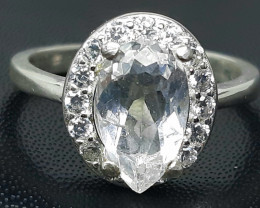 14.00 Carat very rare pollucite with cz 925 Silver Ring, 10x6x4mm.