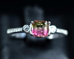 12Carats Natural top bi Color Amazing Tourmaline  925 Silver Ring