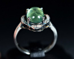19Carats Natural top Prehnite 925 Silver Ring size-8
