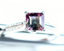 14Carats Natural top bi Color Amazing Tourmaline 925 Silver Ring