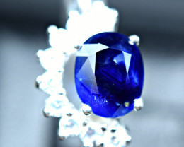 20Carats 100%Natural highest blue Sapphire ,CZ 925 Silver Ring size-9