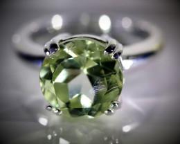 Prasiolite 6.02ct Platinum Finish Solid 925 Sterling Silver Ring