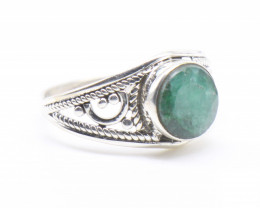 EMERALD RING 925 STERLING SILVER NATURAL GEMSTONE JR836