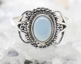 CHALCEDONY RING 925 STERLING SILVER NATURAL GEMSTONE JR837
