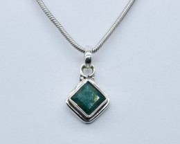 EMERALD PENDANT 925 STERLING SILVER NATURAL GEMSTONE JP10