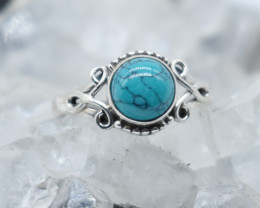 TURQUOISE RING 925 STERLING SILVER NATURAL GEMSTONE JR 838