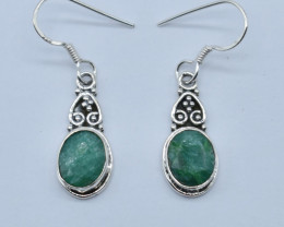 EMERALD EARRINGS 925 STERLING SILVER NATURAL GEMSTONE JE11
