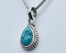 TURQUOISE PENDANT 925 STERLING SILVER NATURAL GEMSTONE JP13