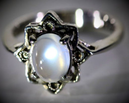 Rainbow Moonstone 2.02ct Solid 925 Sterling Silver Ring