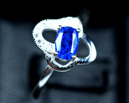 7.85Carats Natural top blue rare Afghanite 925 Silver Ring Size -8