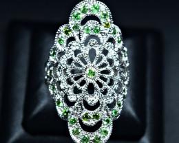 28Carats Natural Tsavorite Green Garnet 925 Silver Ring Size -8