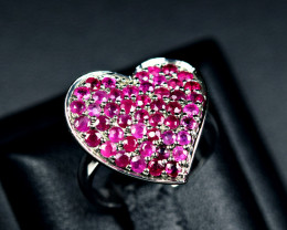 22Carats Heated Natural top Ruby  925 Silver Heart Shape Ring size-8