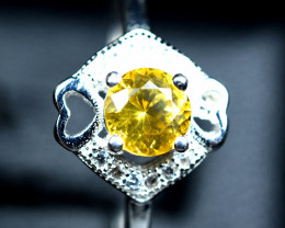 9.10Carats Natural top precious Clean Canary Sapphire 925 Silver Ring