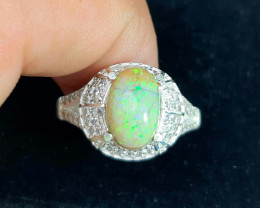 23.00 Carat multifire Opal 925 Silver Ring, 7 ring size.