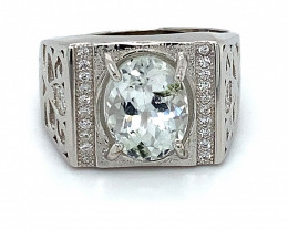 Kunzite 3.75ct White Gold Finish Solid 925 Sterling Silver Ring