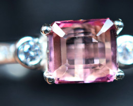 Natural pink ColorTourmaline 925 Silver Ring size-8