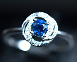 8.65Carats Heated Natural top blue Sapphire 925 Silver ring size-8