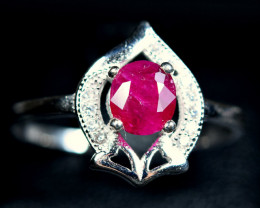 Natural top color precious Ruby 925 Silver Ring Size -8