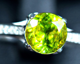 14.80Carats world class Natural top Sphene 925 Silver Ring Size -8
