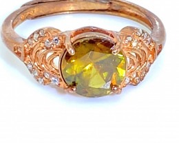 Sphene 1.52ct Rose Gold Finish Solid 925 Sterling Silver Ring