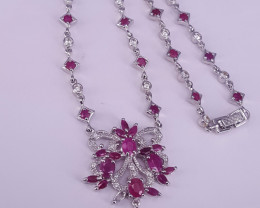 Natural Ruby and CZ Necklace.