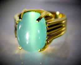 Green Cats Eye Calcite 10.60ct Solid 18K Yellow Gold Ring