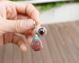 6.12g - 925 Sterling Silver Pendant with Natural Stone / JW36
