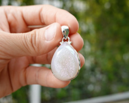 7.36g - 925 Sterling Silver Pendant with Natural Stone / JW38