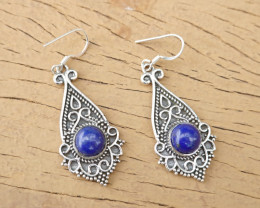 9.37g - 925 Sterling Silver Earrings with Natural Stone / JW21
