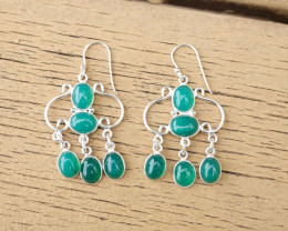 8.27g - 925 Sterling Silver Earrings with Natural Stone / JW22