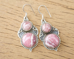 9.70g - 925 Sterling Silver Earrings with Natural Stone / JW24