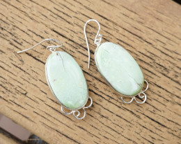11.27g - 925 Sterling Silver Earrings with Natural Stone / JW25