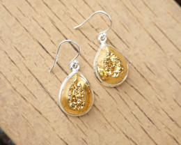6.15g - 925 Sterling Silver Earrings with Natural Stone / JW26