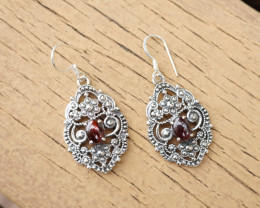 7.36g - 925 Sterling Silver Earrings with Natural Stone / JW27