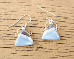 3.67g - 925 Sterling Silver Earrings with Natural Stone / JW28