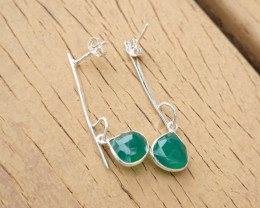 3.51g - 925 Sterling Silver Earrings with Natural Stone / JW29