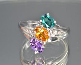 Yellow Sapphire, Amethyst, Topaz   Silver Ring