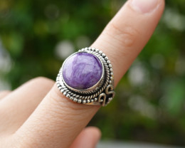 5.97g - 925 Sterling Silver Rings with Natural Stone / JW42