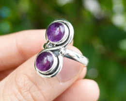5.45g - 925 Sterling Silver Rings with Natural Stone / JW55