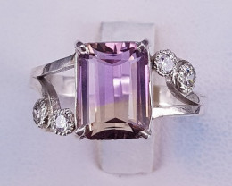 Beautiful Ametrine Ring with CZ in Silver 925