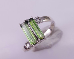 Natural Tourmaline and CZ Ring