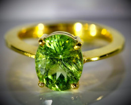 Peridot with Ludwigite Inclusions 4.02ct Solid 18K Yellow Gold Ring