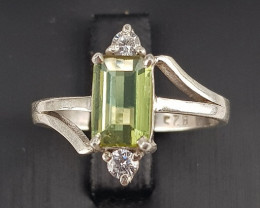Natural Tourmaline  Ring with CZ in Silver 925
