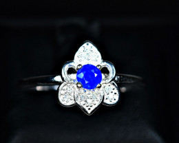 8.50Carats Natural top blue rare Afghanite 925 Silver Ring Size -8