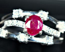22.46Carats Natural top color precious Ruby 925 Silver Ring Size -9